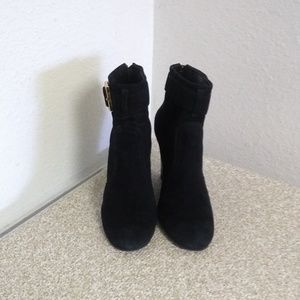 Tory Burch Black Suede Ankle Boots.